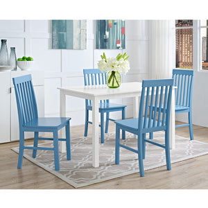 5-Piece White Wood Kitchen Dining Set - Powder Blue