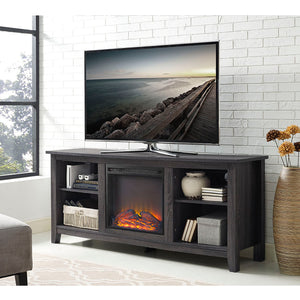"58"" Charcoal Wood Fireplace TV Stand"