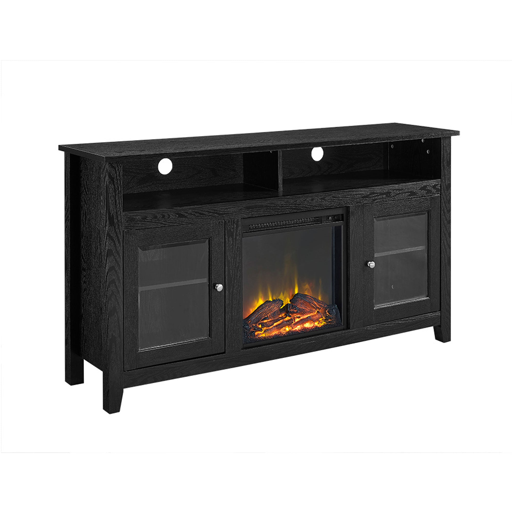 "58"" Wood Highboy Fireplace TV Stand - Black"
