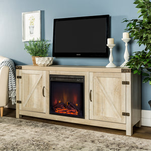 "58"" Barn Door Fireplace TV Stand - White Oak"