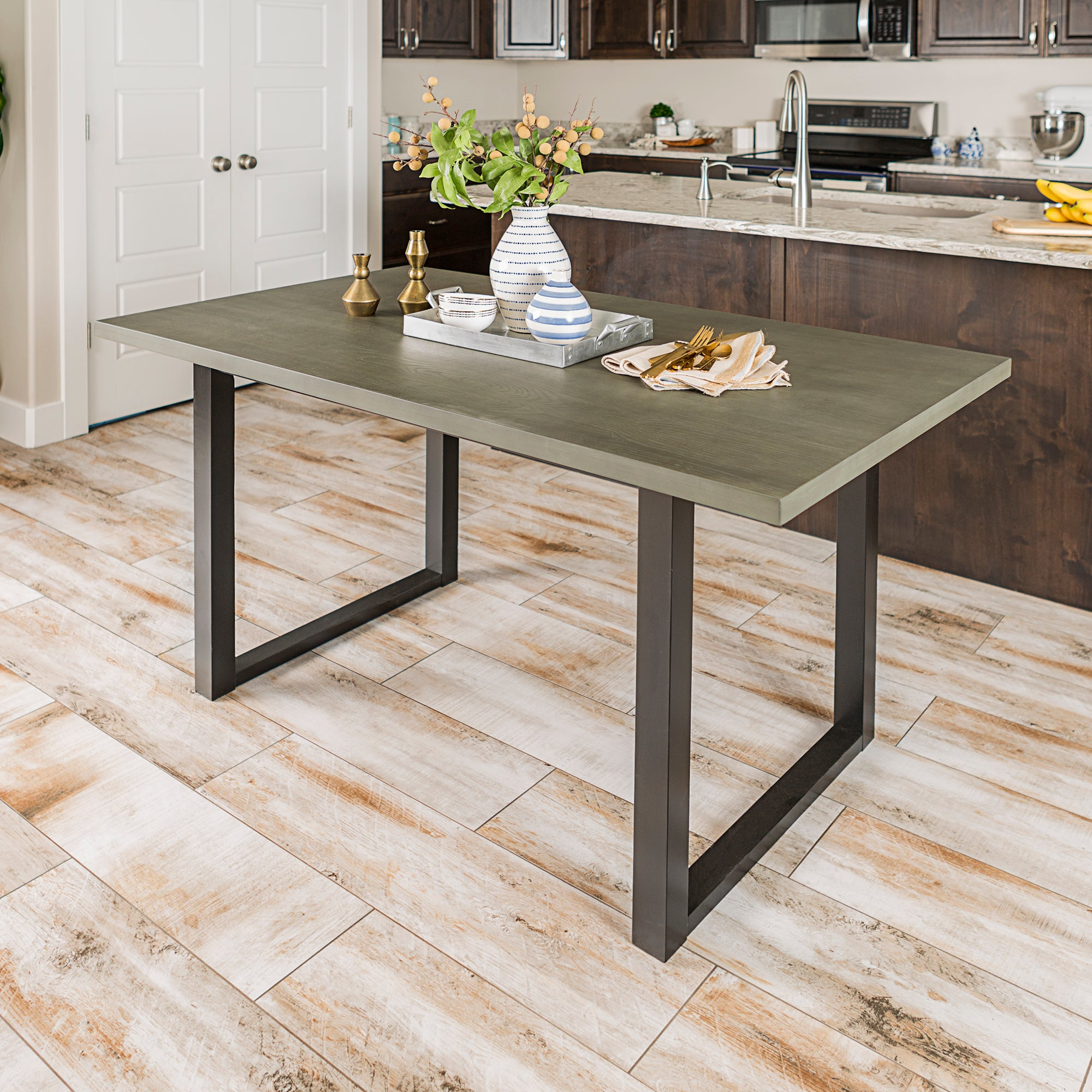 "60"" Madison Wood Dining Table - Aged Grey"