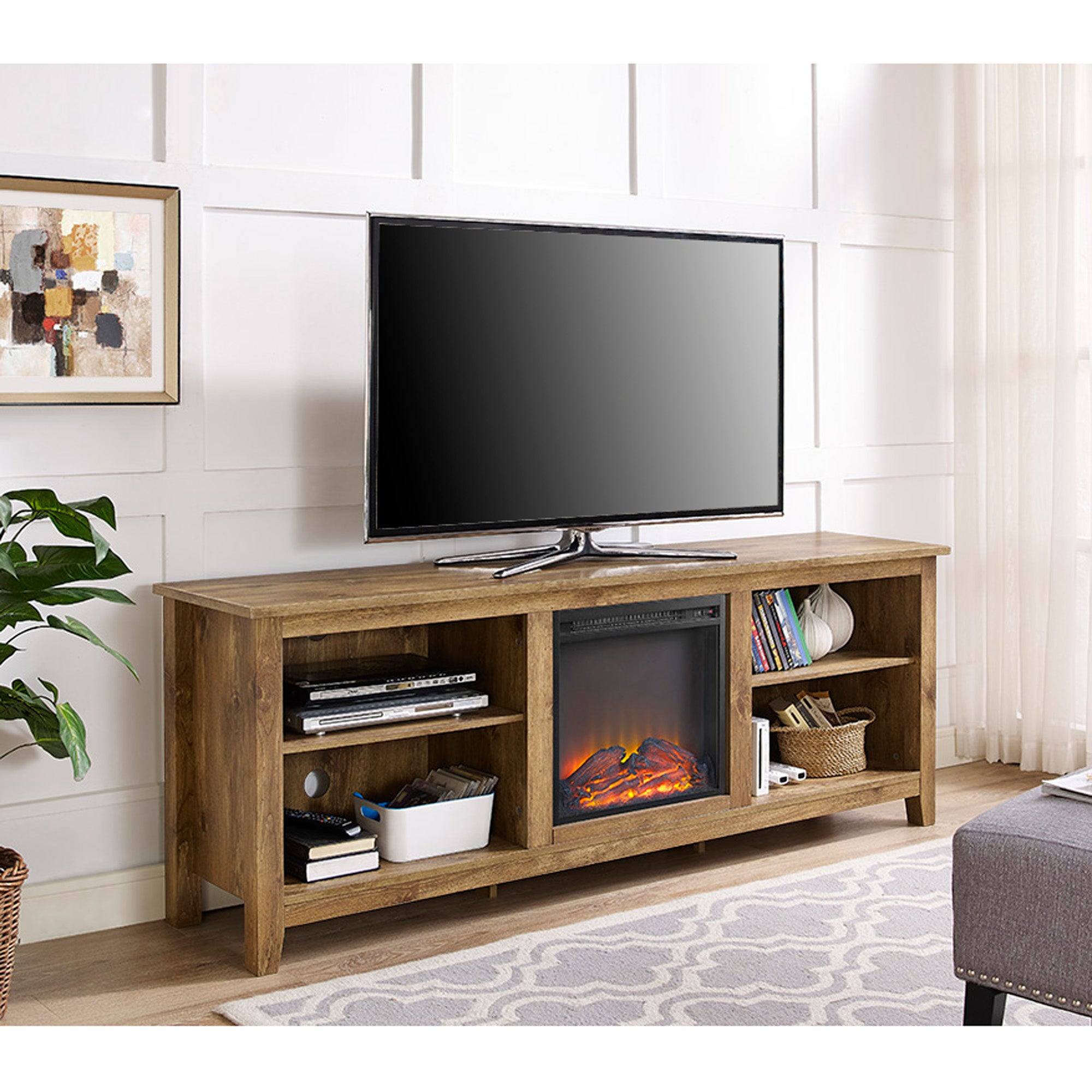 "70"" Wood Media TV Stand Console with Fireplace - Barnwood"