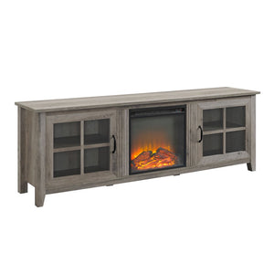 "70"" Farmhouse Wood Fireplace TV Stand with Glass Doors - Grey Wash"