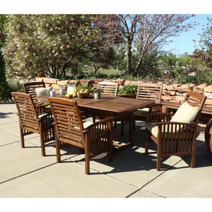 7-Piece Dark Brown Acacia Patio Dining Set with Cushions