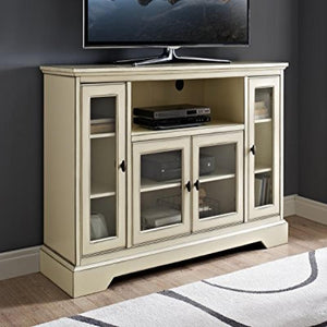 "52"" Highboy Style Wood TV Stand - Antique White"