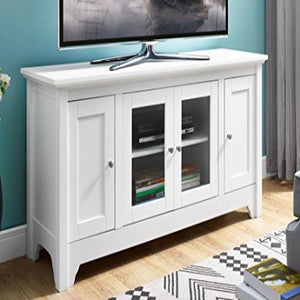 "52"" Wood TV Media Stand Storage Console - White"