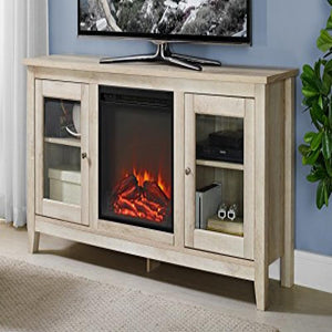 58inch Wood Media TV Stand Console with Fireplace - White Oak