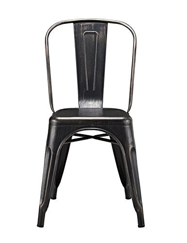 Metal Caf�ѓ Chair - Antique Black
