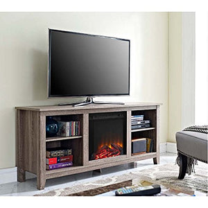 "58"" Driftwood TV Stand with Fireplace Insert"