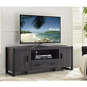 "60"" Wood Media TV Stand Storage Console- Charcoal"
