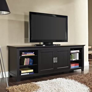 "70"" Black Wood TV Stand with Sliding doors"