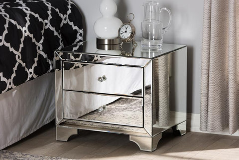 Baxton Studio Farrah Hollywood Regency Glamour Style Mirrored 2-Drawer Nightstand