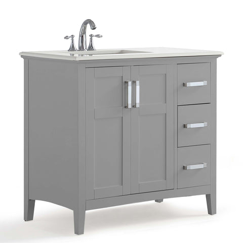 Winston 36 inch Left Offset Bath Vanity in Warm Grey with Bombay White Engineered Marble Top
