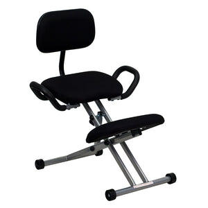 Ergonomic Kneeling Chair with Back and Handles in Black Fabric - WL-3439-GG