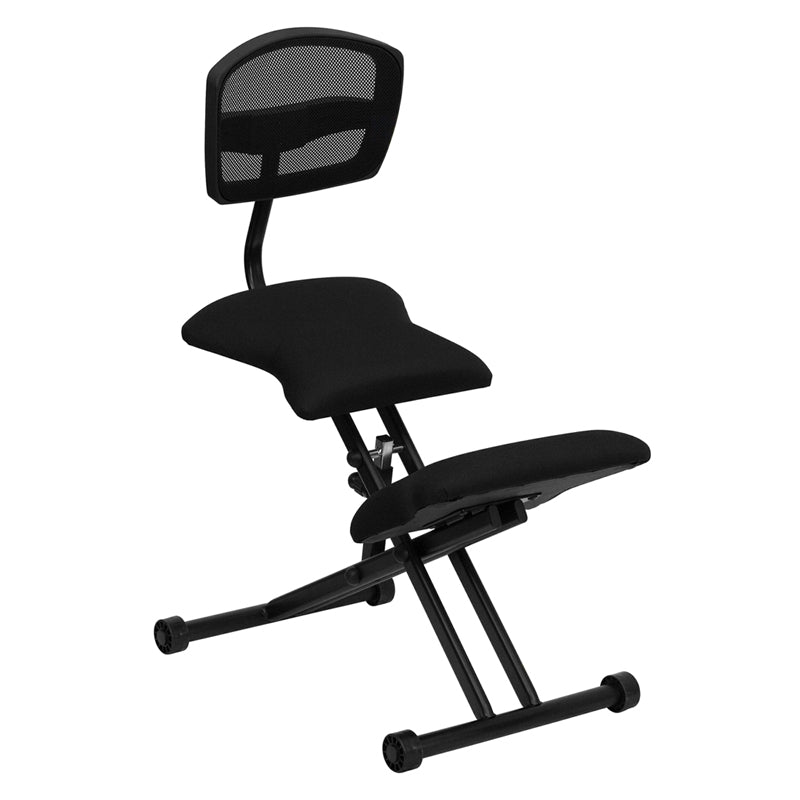 Ergonomic Kneeling Chair with Back in Black Mesh and Fabric - WL-3440-GG
