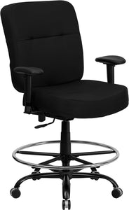HERCULES Series Big & Tall 400 lb. Rated Black Fabric Drafting Chair with Adjustable Arms - WL-735SYG-BK-AD-GG