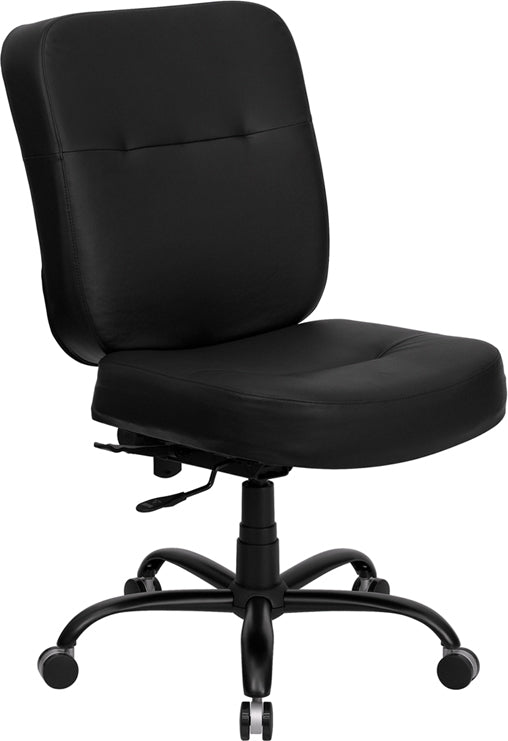 HERCULES Series Big & Tall 400 lb. Rated Black Leather Executive Swivel Chair - WL-735SYG-BK-LEA-GG