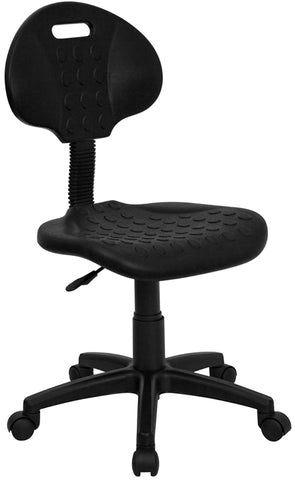 """Tuff Butt"" Soft Black Polyurethane Utility Swivel Task Chair - WL-908G-GG"