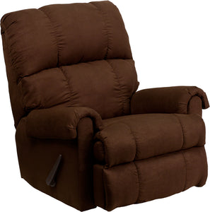 Contemporary Flatsuede Chocolate Microfiber Rocker Recliner - WM-8700-112-GG