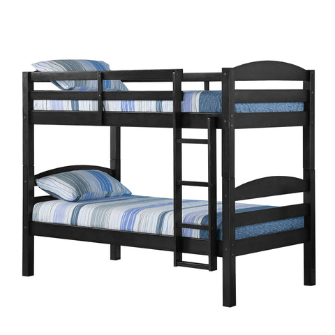 Solid Wood Twin over Twin Bunk Bed - Black