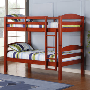 Solid Wood Twin over Twin Bunk Bed - Cherry