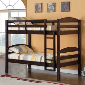 Solid Wood Twin over Twin Bunk Bed - Espresso