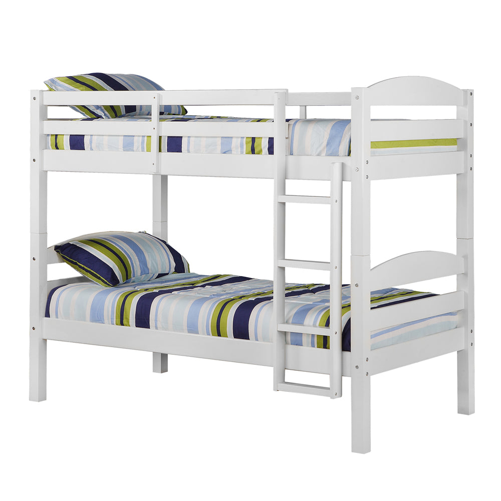 Solid Wood Twin over Twin Bunk Bed - White