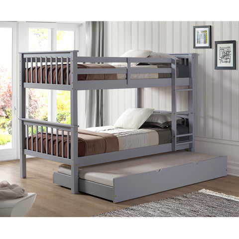 Solid Wood Twin Bunk Bed with Trundle Bed - Grey