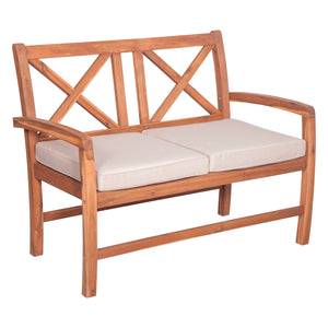 Acacia Wood X-Back Love Seat with Cushions - Brown