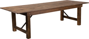 HERCULES Series 9' x 40'' Antique Rustic Solid Pine Folding Farm Table