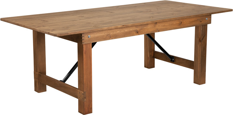 HERCULES Series 7' x 40'' Antique Rustic Solid Pine Folding Farm Table