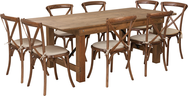 Series 7' x 40'' Antique Rustic Folding Farm Table Set with 8 Cross Back Chairs and Cushions
