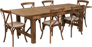 Series 8' x 40'' Antique Rustic Folding Farm Table Set with 6 Cross Back Chairs and Cushions
