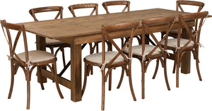 Series 8' x 40'' Antique Rustic Folding Farm Table Set with 8 Cross Back Chairs and Cushions