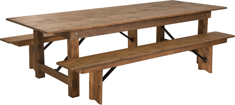 Series 9' x 40'' Antique Rustic Folding Farm Table and Two Bench Set