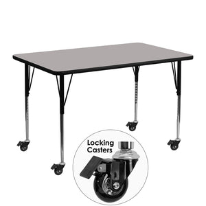 Mobile 24''W x 48''L Rectangular Grey HP Laminate Activity Table - Standard Height Adjustable Legs - XU-A2448-REC-GY-H-A-CAS-GG