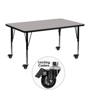 Mobile 24''W x 48''L Rectangular Grey HP Laminate Activity Table - Height Adjustable Short Legs