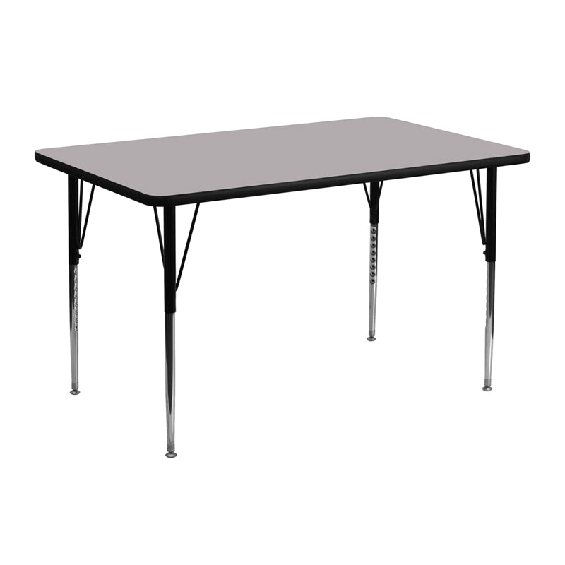 24''W x 48''L Rectangular Grey Thermal Laminate Activity Table - Standard Height Adjustable Legs