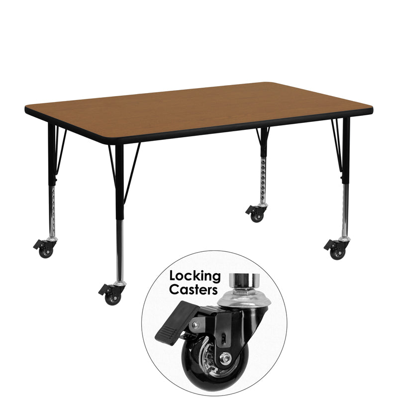 Mobile 24''W x 48''L Rectangular Oak Thermal Laminate Activity Table - Height Adjustable Short Legs - XU-A2448-REC-OAK-T-P-CAS-GG