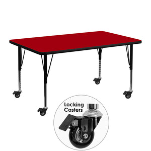 Mobile 24''W x 48''L Rectangular Red Thermal Laminate Activity Table - Height Adjustable Short Legs - XU-A2448-REC-RED-T-P-CAS-GG