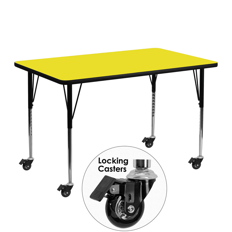 Mobile 24''W x 48''L Rectangular Yellow HP Laminate Activity Table - Standard Height Adjustable Legs - XU-A2448-REC-YEL-H-A-CAS-GG