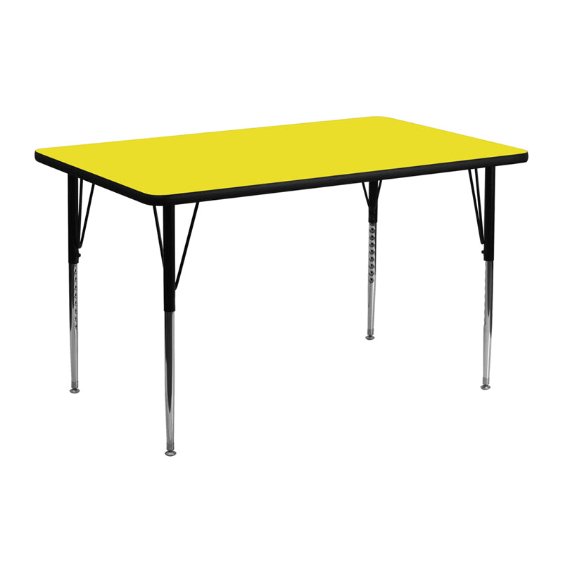 24''W x 48''L Rectangular Yellow HP Laminate Activity Table - Standard Height Adjustable Legs - XU-A2448-REC-YEL-H-A-GG