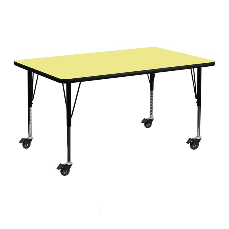 Mobile 24inW x 48inL Rectangular Yellow Thermal Laminate Activity Table - Height Adjustable Short Legs - XU-A2448-REC-YEL-T-P-CAS-GG