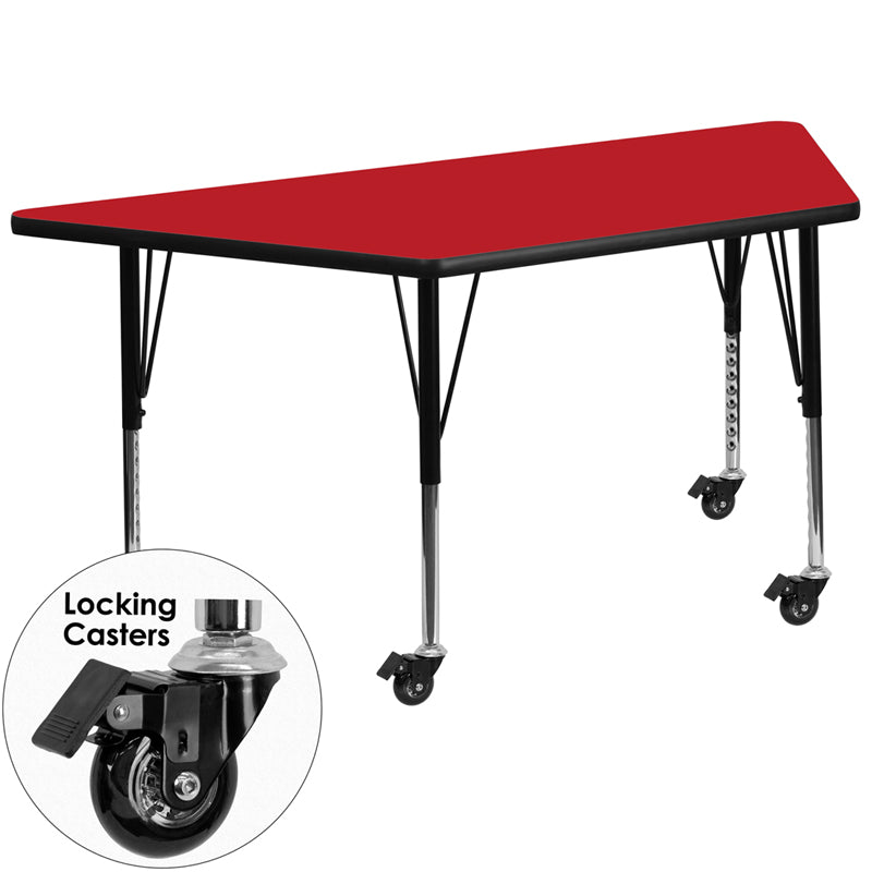 Mobile 25.5''W x 46.25''L Trapezoid Red HP Laminate Activity Table - Height Adjustable Short Legs - XU-A2448-TRAP-RED-H-P-CAS-GG