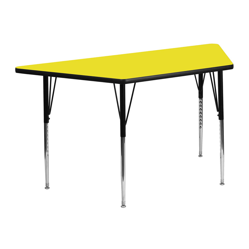 25.5''W x 46.25''L Trapezoid Yellow HP Laminate Activity Table - Standard Height Adjustable Legs