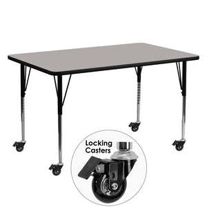 Mobile 24''W x 60''L Rectangular Grey HP Laminate Activity Table - Standard Height Adjustable Legs - XU-A2460-REC-GY-H-A-CAS-GG