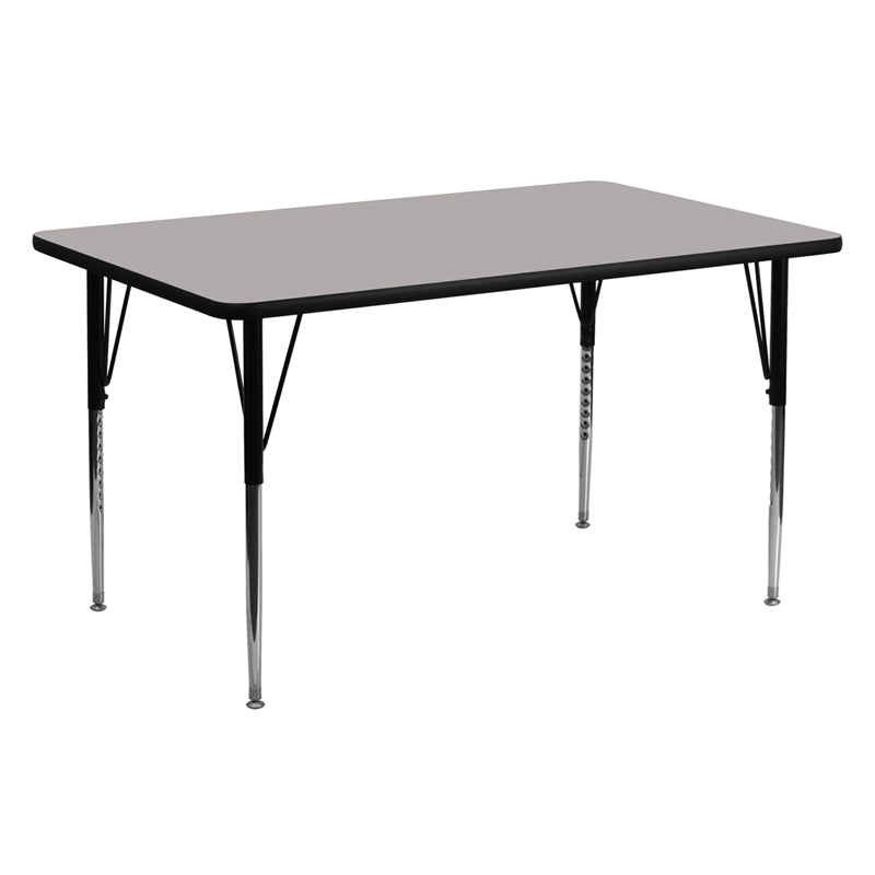24''W x 60''L Rectangular Grey HP Laminate Activity Table - Standard Height Adjustable Legs - XU-A2460-REC-GY-H-A-GG