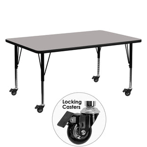 Mobile 24''W x 60''L Rectangular Grey HP Laminate Activity Table - Height Adjustable Short Legs - XU-A2460-REC-GY-H-P-CAS-GG