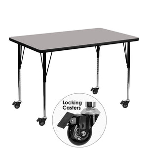 Mobile 30''W x 48''L Rectangular Grey HP Laminate Activity Table - Standard Height Adjustable Legs - XU-A3048-REC-GY-H-A-CAS-GG