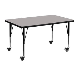 Mobile 30''W x 48''L Rectangular Grey HP Laminate Activity Table - Height Adjustable Short Legs - XU-A3048-REC-GY-H-P-CAS-GG